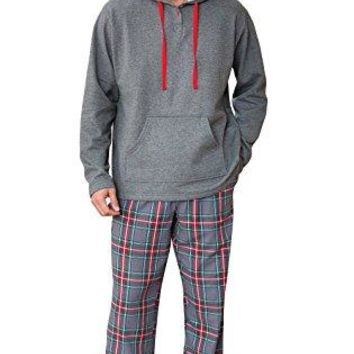 PajamaGram Hooded Fleece and Flannel Plaid Pajamas for Men, Gray, LRG