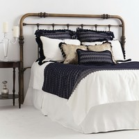 Love Boat Duvet Cover Navy Lace over White Linen Reverses to White Linen with Gold Chord Trim