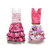 2 Pcs/set Fashion Dress for Barbies with T-shirt Color Random Kids Doll