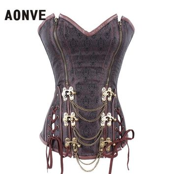 AONVE Steampunk Women Corsets And Bustiers Corsages Brown Gothic Bustier  Zipper  Plus Size Belly Slimming Sheath S-6XL