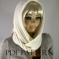 KNITTING PATTERN HOOD Scarf - I love Snow - Hooded Infinity Scarf