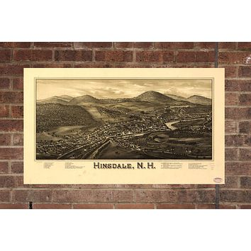 Vintage Hinsdale Print, Aerial Hinsdale Photo, Vintage Hinsdale NH Pic, Old Hinsdale Photo, Hinsdale New Hampshire Poster, 1886