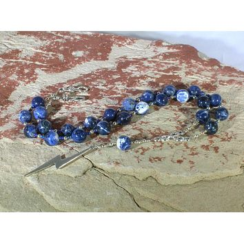 Zeus Prayer Bead Necklace in Sodalite: Greek God of the Sky and Storm, Lightning, Justice