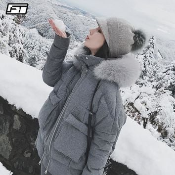 Fitaylor Real Fox Fur Collar White Duck Down Parkas Winter Women Slim Hooded Jackets Warm Snow Down Gray Coat