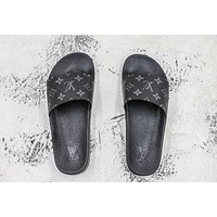 Louis Vuitton Waterfront Mule Sandals Black Slides Slippers