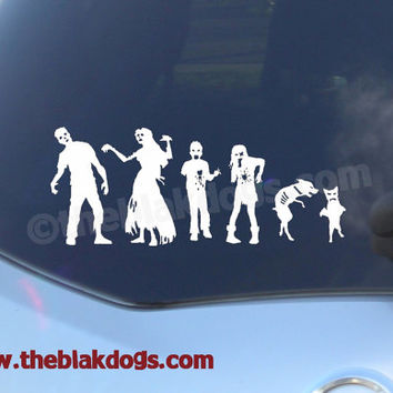 Zombie Stick Figure Family Custom Vinyl Sticker Car Decal