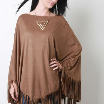 Faux Suede Fringe Poncho