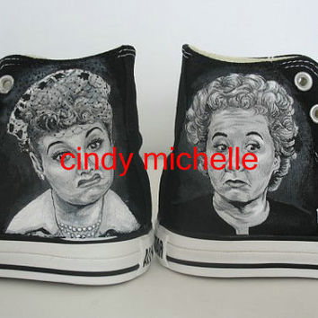 Custom Converse I love lucy Hand Painted On Converse Shoes