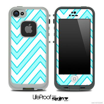 Large Chevron and Solid Blue V1 Skin for the iPhone 5 or 4/4s LifeProof Case