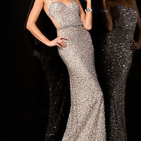 Floor Length Sequin Scala Dress with Open Back