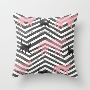 Pitter Patter on Soft Cat Paws Throw Pillow by Grimalkin Studio