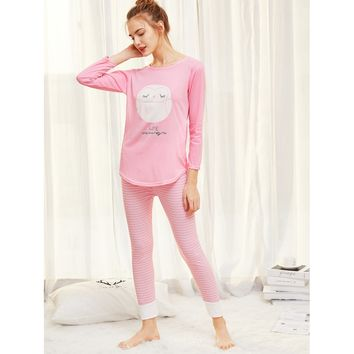 Pink Owl Print Top And Striped Pants Pj Set