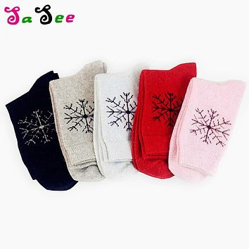 New classical high quality Autumn Winter Rabbit Wool Socks Thickening Snowflake Warm in tube Cotton Socks for Women 5 pairs/lot