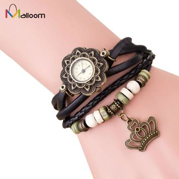 Bracelet Watch Women Quartz Watches Weave Around PU Leather Crown Ladies Wristwatch Clock Gift Relogio Feminino