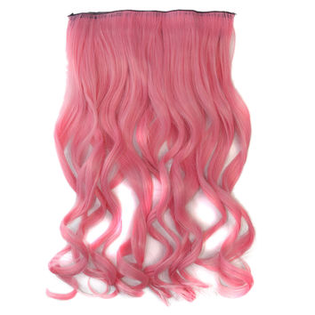 Colorful 5 Cards Wig Hair Extension    rouge pinki smog pink 5C-2311#