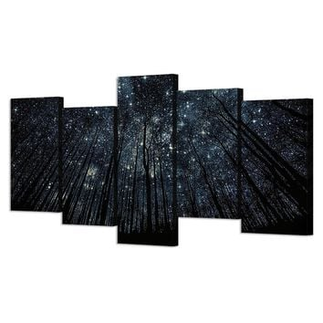 5 Piece Canvas  Starry Birch Trees Art