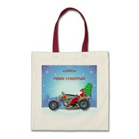 Christmas Santa Riding Chopper Bike With Red Hat Tote Bag