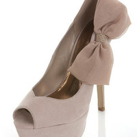 Savannah Cream Side Bow Heel - Shoes - Miss Selfridge