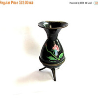 ON SALE. Small vase. Vintage small vase. Painted vase. Floral vase. Rose vase. Black vase. Israel art. Metal vase. Copper vase. Footed. True