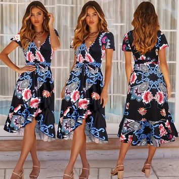 2019 Europe and America sexy loose V-neck short-sleeved printed ruffled strap dress