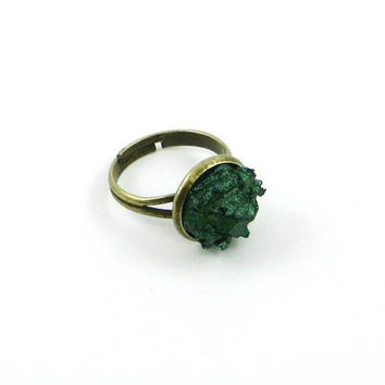 Emerald Green Druzy Ring, Faux Druzy Ring, Druzy Bezel Ring, Emerald Green Ring, Faux Druzy Jewelry DSRG003B