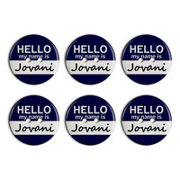 Jovani Hello My Name Is Plastic Resin Button Set of 6