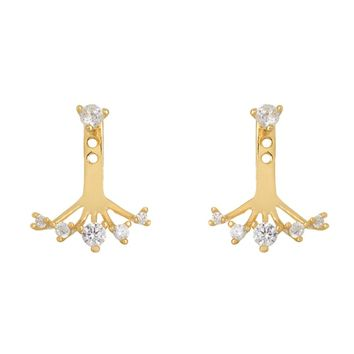 Gold Over Sterling Silver CZ Ear Jackets