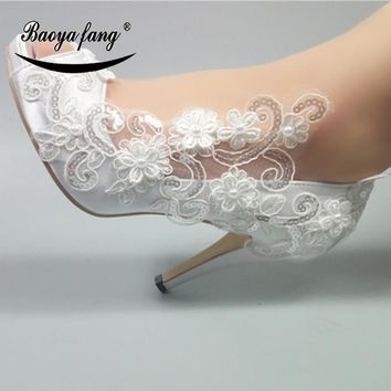 BaoYaFang Women wedding shoes Bride New arrival White lace party dress shoes Peep Toe Open toe Ladies Pumps big size shoe