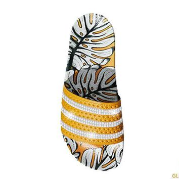 Women's Adidas Adilette Sandal + Crystals - Craft Gold/Off White | Pineapple Print
