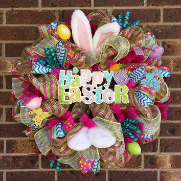Deluxe Easter Bunny Deco Mesh Wreath