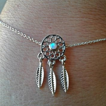 Cute Dream Catcher White Opal Center Bracelet Adjustable