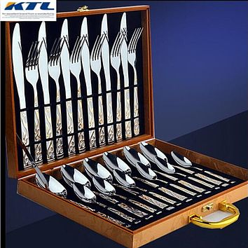 KTL 24 PCS Golden Dinnerware Set top Stainless Steel Dinner Knife and Fork Cutlery Set With Gift Box