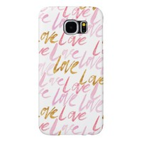 Chic Pink and Gold Watercolor Love Samsung Galaxy S6 Case