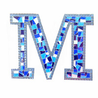 Nursery Letter, Mosaic Wall Art, Initial Wall Hanging, Blue Letter M