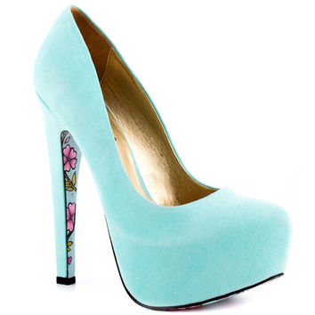 Taylor Says - Calico - Light Blue Suede