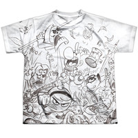 GRIM ADVENTURES OF BILLY AND MANDY/BRAWL-S/S YOUTH POLY CREW-WHITE
