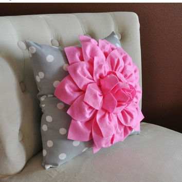 MOTHERS DAY SALE Pink Dahlia on Gray and White Polka Dot Pillow -Baby Nursery Pillow- Toss Pillow Decorative Pillow
