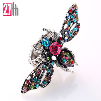 Unique Vivid Bee Imitation Multi Color Rhinestone Ring Elastic Stretch Adjustable Finger Ring Fashion Ball Party Jewelry