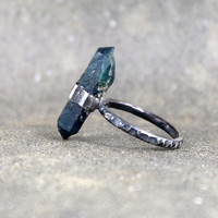 Apatite Ring - Raw Apatite Crystal - Sterling Silver Gemstone Ring - Raw Blue Gemstone Ring - Stacking - Cocktail - Statement Jewellery