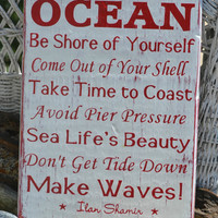 Beach Sign - Beach Decor - Advice From The Ocean Sign - Painted - Advice Ocean Sign - Beach Wall Decor - Beach House - Coastal Decor