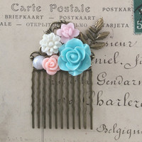 Turquoise Pink Wedding Hair Comb Floral Bridal Hair Slide Bridesmaid Gift Pastel Pink Blue Flower Collage Soft Rustic Elegant Woodland WR