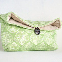 Makeup Bag, Spring Green and Ivory Clutch Purse, Great for Travel, Gift Under 25, Bridesmaid Gift