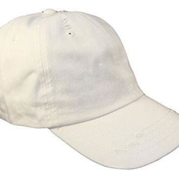 ONETOW Distressed Weathered Vintage Polo Style Baseball Cap (One Size, White)