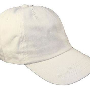 LMFON Distressed Weathered Vintage Polo Style Baseball Cap (One Size, White)
