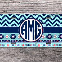 Vanity Southwest-ing license plate - Soft and NAVY blue chevron and Aztec patterns with circle monogram car tag - 432