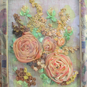 Office Gift Boss Framed Textile Wall Art Gold Flowers Wish Home Decor Office Wall Hanging Fiber Art Unique Exclusive Wish Ribbon Embroidery