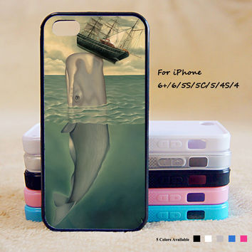 Painting Whale Phone Case For iPhone 6 Plus For iPhone 6 For iPhone 5/5S For iPhone 4/4S For iPhone 5C iPhone X 8 8 Plus