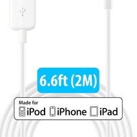 [Apple MFi Certified] HomeSpot® Sync & Charge 30 pin to USB Cable 6.6ft (2M) Extra Long Charging Cable for iPhone 4, iPhone 4S, iPad 1/2/3, iPod touch, iPod nano - 1 Pack - White