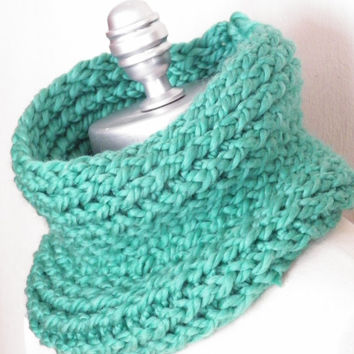 Knit Cowl Barrel Scarf, Emerald Green, Seafoam, Chunky Neckwarmer