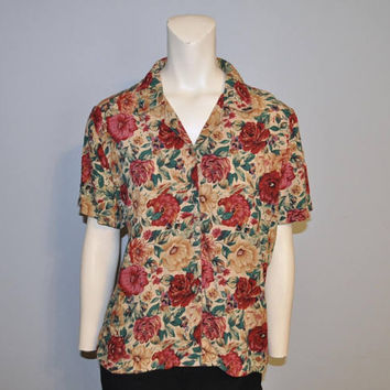 Vintage 1990's Short Sleeve Floral Print Button Down Blouse Brown Burgundy Roses Sag Harbor Top Women's Shirt 90's Flower Pattern